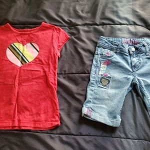girl size 7 denim shorts designed leg and tee